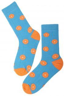 ORANGE cotton socks with oranges   BestSockDrawer.com