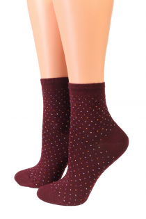 Oroblu POWDER bordeaux red socks | BestSockDrawer.com