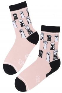 PAWS UP pink cotton socks for women | BestSockDrawer.com