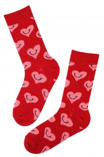 PEACE red cotton socks with hearts | BestSockDrawer.com