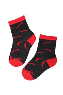 PEPPER merino wool socks with chillies for kids | BestSockDrawer.com