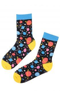 PLANET black cotton socks | BestSockDrawer.com