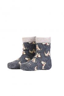 PLUUTO angora wool socks with dogs for babies | BestSockDrawer.com
