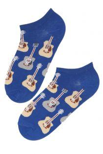 PUREJOY men's low-cut blue guitar socks | BestSockDrawer.com