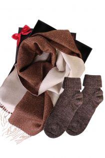 Alpaca wool two sided scarf and alpaca wool socks gift box for women | BestSockDrawer.com