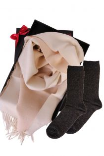 Alpaca wool two sided scarf and GOLD socks gift box for women | BestSockDrawer.com