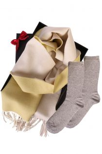 Alpaca wool two sided scarf and SILVER socks gift box for women | BestSockDrawer.com