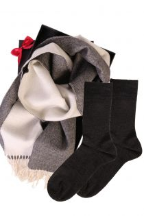 Alpaca wool two sided scarf and HANS socks gift box for men | BestSockDrawer.com
