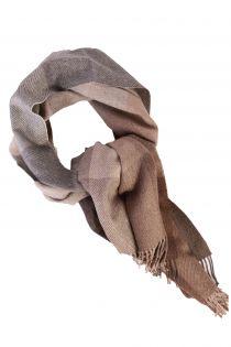 Alpaca wool beige-grey checked big scarf | BestSockDrawer.com