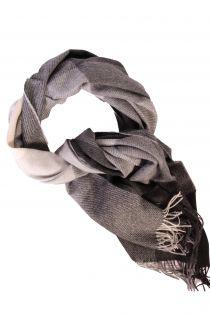 Alpaca wool black-gray checked big scarf | BestSockDrawer.com