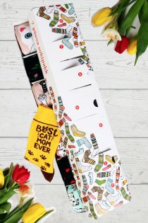CAT MOM Mother's Day surprise box with 7 sock pairs for every week day | BestSockDrawer.com