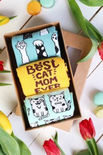 CAT MOM Mother's Day gift box with 3 pairs of socks | BestSockDrawer.com
