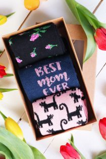 BEST MOM Mother's Day gift box with 3 pairs of socks | BestSockDrawer.com