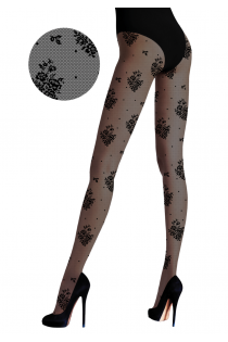 FLOREALE black tights with flowers | BestSockDrawer.com