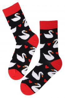 SWAN Valentine's Day cotton socks | BestSockDrawer.com