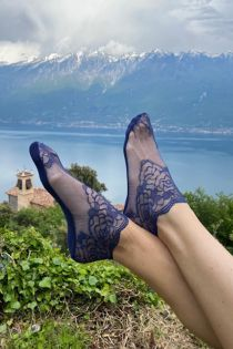 TERESA dark blue lace socks for women   BestSockDrawer.com