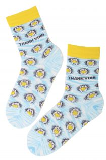 THANK YOU (AITÄH) cotton socks with hedgehogs | BestSockDrawer.com