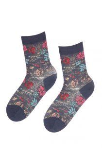 MIINA women's dark blue merino wool socks | BestSockDrawer.com