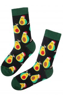 AVOCADO JOY cotton Christmas socks for men | BestSockDrawer.com