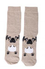 PUPPY beige cotton socks for dog lovers | BestSockDrawer.com