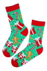 MANDY gingerbread man patterned Christmas socks | BestSockDrawer.com