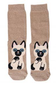 KITTY beige cotton socks for cat lovers   BestSockDrawer.com