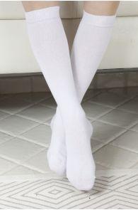 KRISS white cotton knee highs for children | BestSockDrawer.com