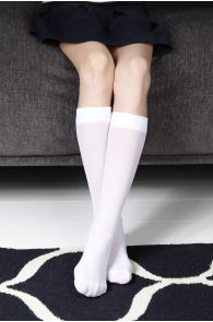 CADRI 40DEN children's white knee-highs | BestSockDrawer.com
