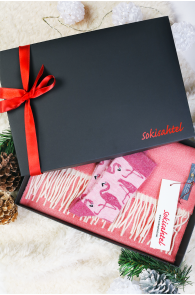 Alpaca wool gift box with a pink two-sided scarf and MIAMI socks | BestSockDrawer.com