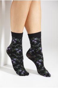 BARI 60DEN socks with lilac roses | BestSockDrawer.com