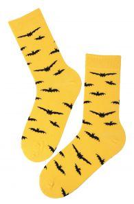 BAT yellow cotton socks with bats   BestSockDrawer.com