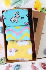 BUNNYLOVE Easter gift box containing 3 pairs of socks | BestSockDrawer.com