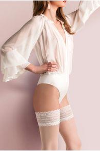 CAROLINE 20DEN white hold-ups | BestSockDrawer.com