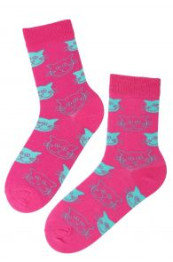CATS neon pink cotton socks with cats   BestSockDrawer.com