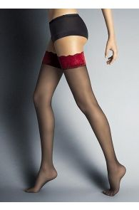 ALESSANDRA black hold-ups with a red lace | BestSockDrawer.com
