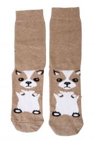 PUPPY brown cotton socks for dog lovers | BestSockDrawer.com