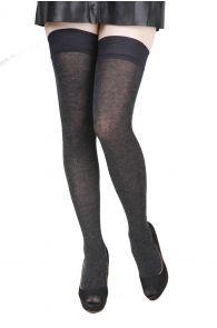 ELENA dark grey hold ups containing silk | BestSockDrawer.com