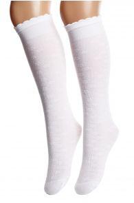 ENYA white flowery knee-highs for children | BestSockDrawer.com