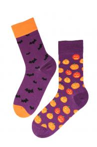 FLYING BAT Halloween socks with bats and pumpkins | BestSockDrawer.com