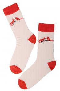 FOXY LOVE peach Valentine's Day cotton socks | BestSockDrawer.com