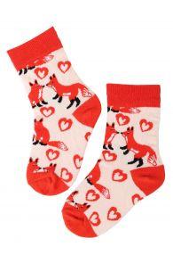 FOXY LOVE orange cotton socks for kids   BestSockDrawer.com