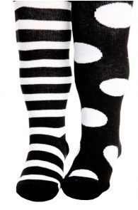 FUNNY DOTS black cotton tights for babies | BestSockDrawer.com