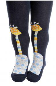GIRAFFE dark blue tights for babies | BestSockDrawer.com