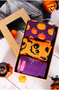Halloween gift box PUMPKIN FACE with 3 pairs | BestSockDrawer.com