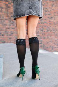 KATRINA black knee-highs with a bow for women | BestSockDrawer.com