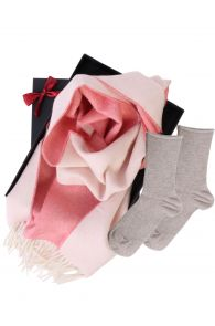 Two sided alpaca wool scarf and ANNI socks gift box for | BestSockDrawer.com