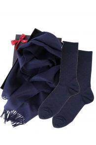 Alpaca wool scarf and dark blue VEIKO socks gift box for men | BestSockDrawer.com