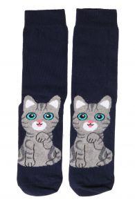 KITTY blue cotton socks for cat lovers   BestSockDrawer.com
