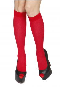 KRISS red cotton knee highs | BestSockDrawer.com