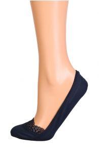 MACRAME dark blue footies with a lace edge | BestSockDrawer.com